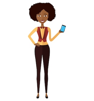 Mulher africana com telefone