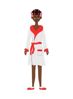 Mulher africana de beleza em um roupão de banho com rolos de cabelo. estilo de desenho animado. ilustração vetorial.