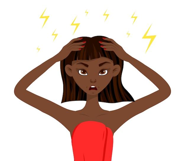 Mulher africana de beleza insatisfeita com a pele dela. estilo dos desenhos animados.