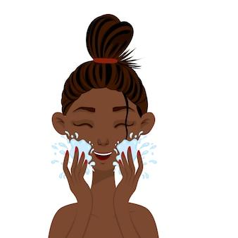 Mulher africana de beleza lavando a louça. estilo de desenho animado.