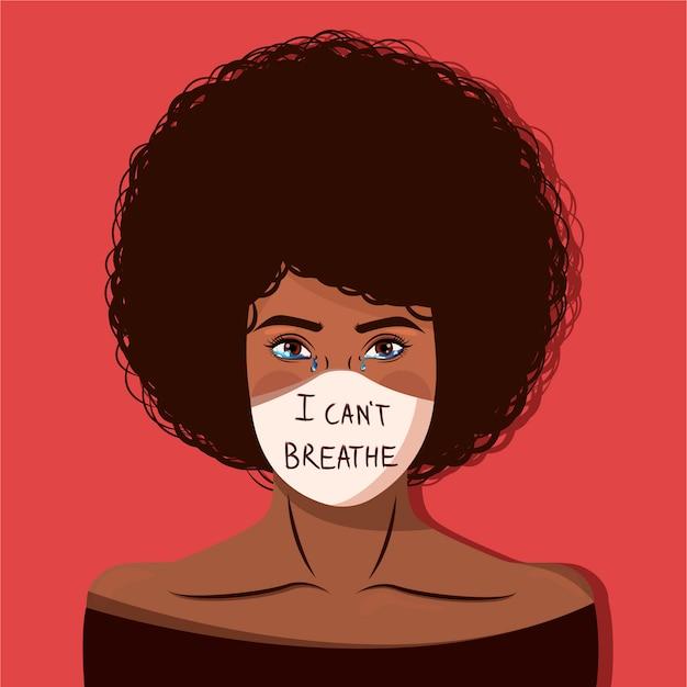 Mulher africana protestando contra o racismo e a ilegalidade da polícia com uma máscara e a frase