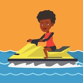 Mulher africana treinando no jet ski no mar.