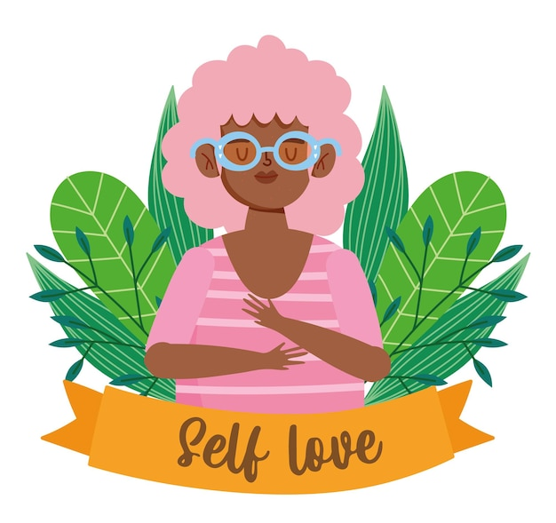 Mulher afro-americana com óculos ilustração de amor-próprio de personagem de desenho animado