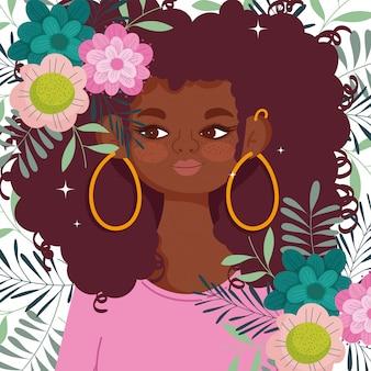 Mulher afro-americana desenho animado flores folhagem decoração design ilustração vetorial