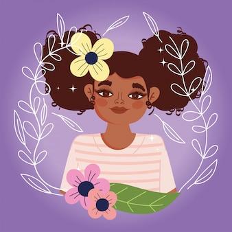 Mulher afro-americana desenho animado flores folhagem retrato ilustração vetorial natural