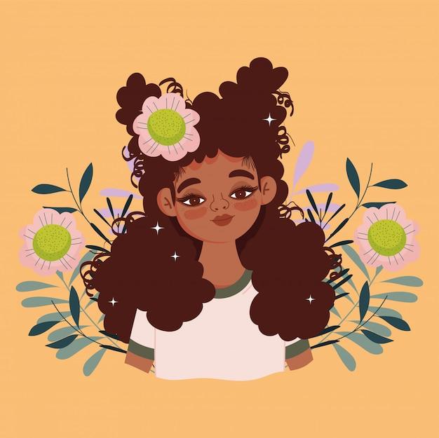 Mulher afro-americana desenho animado flores folhagem retrato ilustração vetorial