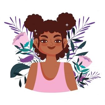 Mulher afro-americana personagem flores folhagem retrato ilustração vetorial
