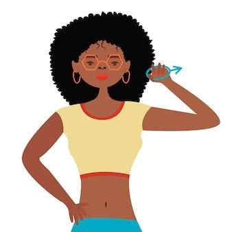 Mulher afro-americana segurando sinal de sexo masculino