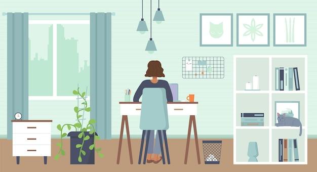 Mulher afro-americana sentada atrás com o laptop em casa trabalho remoto freelance em casa
