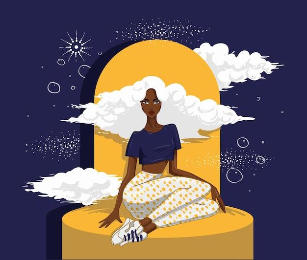 Mulher afro-americana sentada com nuvens de cabelo à noite
