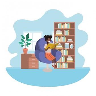 Mulher afro com livro no personagem de avatar de sala de estar
