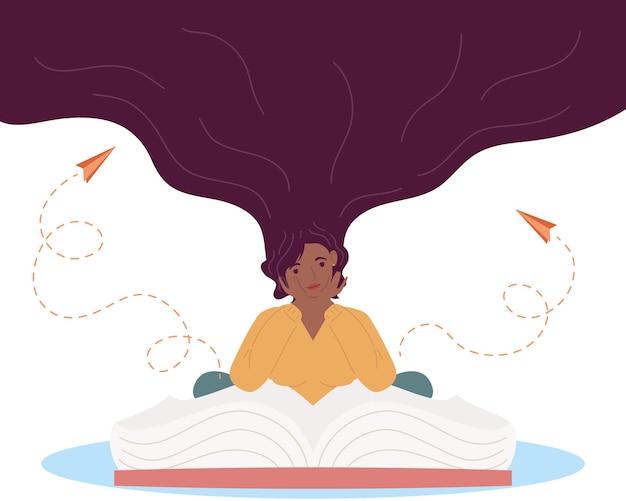 Mulher afro lendo livro com papel de avião voando, design de ilustração de celebração do dia do livro