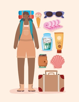 Mulher afro-mochileira e elementos de viagem