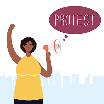 Mulher afro protestando com ilustração de megafone