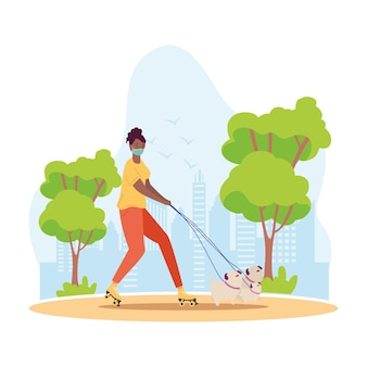 Mulher afro usando máscara médica em patins com cão, atividade ao ar livre, ilustração de paisagem