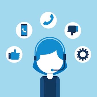 Mulher agente call center atendimento ao cliente ilustração em vetor