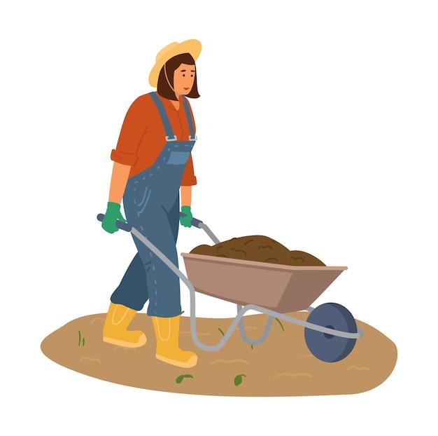Mulher agricultora de macacão e chapéu de palha com carrinho de mão com a ilustração do solo.