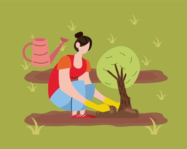 Mulher agricultora plantando