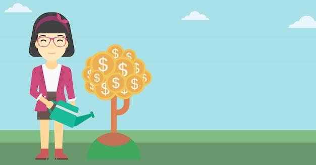 Mulher, aguando, dinheiro, árvore
