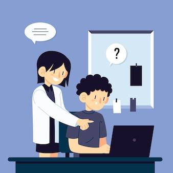 Mulher ajudando estagiário no novo emprego