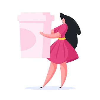 Mulher alegre com bebida para viagem. ilustração plana