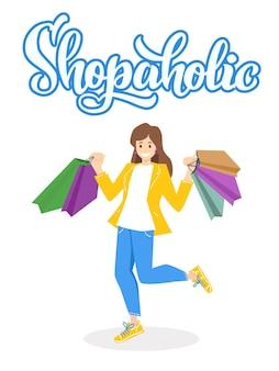 Mulher alegre e feliz viciada em compras com muitos sacos e letras isoladas no fundo branco