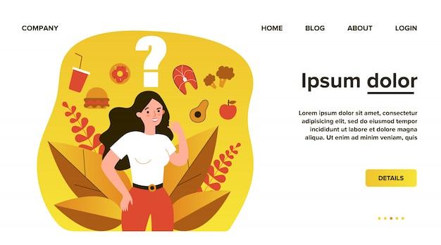 Mulher alegre pensando sobre seu lanche e escolhendo entre comida saudável e lixo. ilustração para saúde, escolha, dieta, conceito saudável vs insalubre