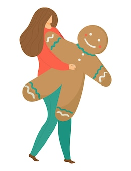 Mulher alegre segurando boneco de natal