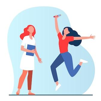 Mulher alegre segurando tubo de vidro e pulando. médico, vacina, ilustração em vetor plana teste covid negativo. coronavírus, epidemia, infecção