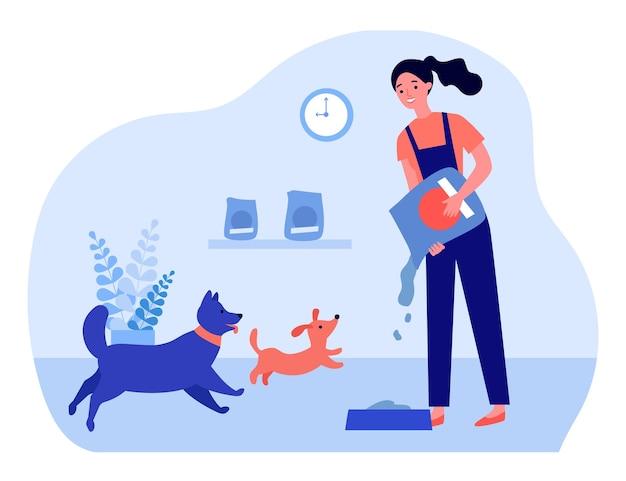 Mulher alimentando animais de estimação. voluntário espalhando comida de cachorro na tigela. ilustração vetorial plana