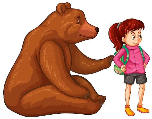 Mulher alpinista e urso pardo