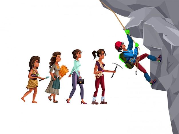 Mulher alpinista evolução linha de tempo vector cartoon ilustração conceito