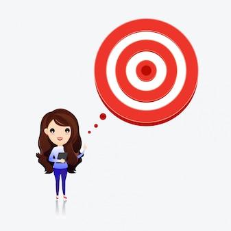 Mulher, alvo, pensando, objetivos