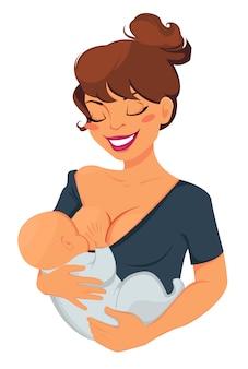 Mulher, amamentando, bebê recém-nascido