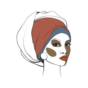 Mulher americana africana, em, headscarf