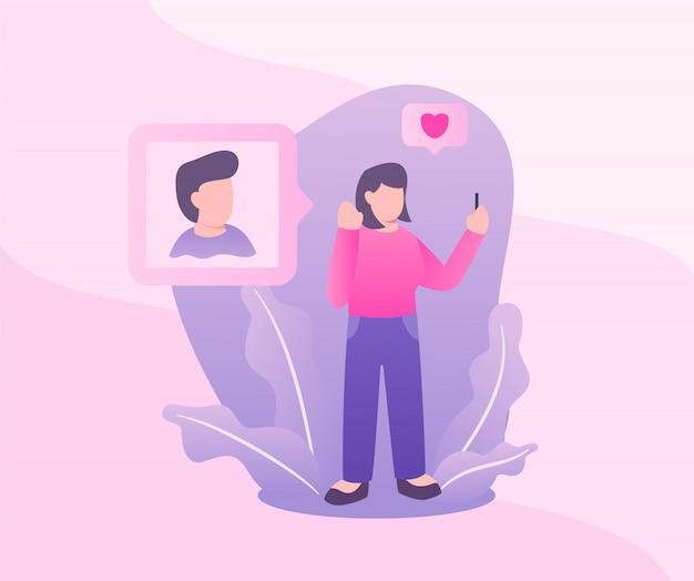 Mulher amor homem na foto de mídia social com moderno