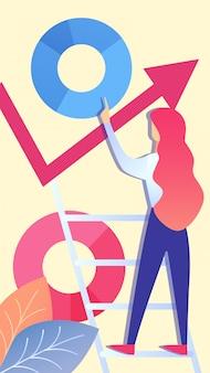 Mulher, analisando dados corporativos ilustração vetorial