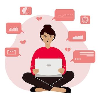Mulher analisando dados em seu laptop e sentada de pernas cruzadas. zangado e gritando. conceito de ciência de dados. gráficos e tabelas de negócios. ilustração em vetor plana.