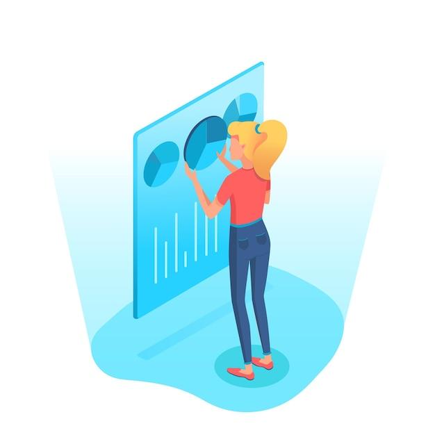 Mulher analisando gráficos de pizza, gráfico, diagrama na tela