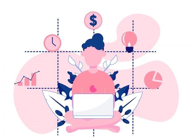 Mulher, analisando, relatórios negócio