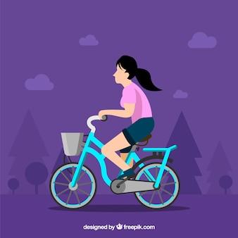 Mulher andando de bicicleta com design plano