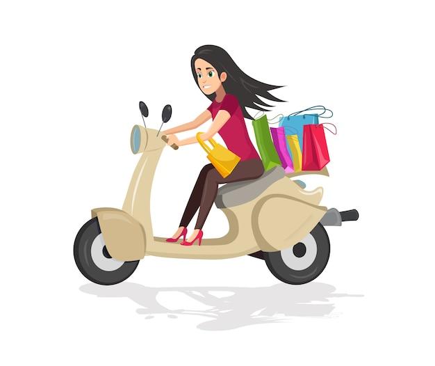 Mulher andando de scooter com sacos depois de fazer compras