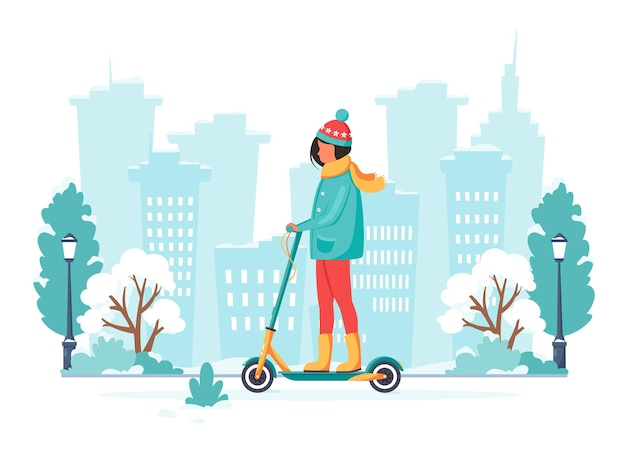 Mulher andando de scooter elétrica no inverno