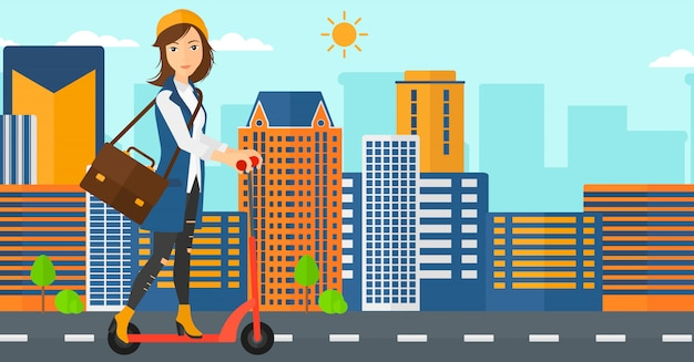 Mulher andando de scooter
