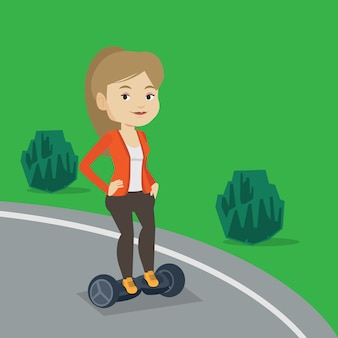 Mulher andando na auto-equilíbrio scooter elétrico.