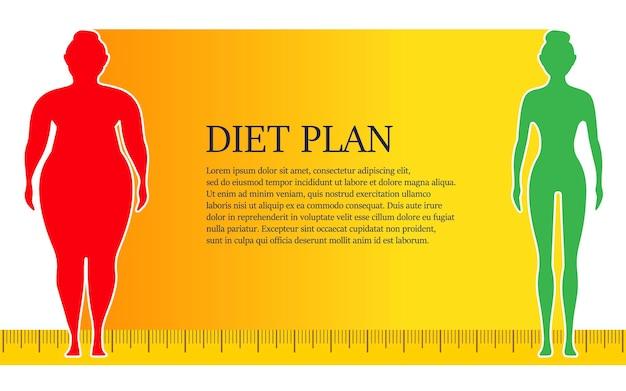 Mulher antes e depois da dieta e fitness