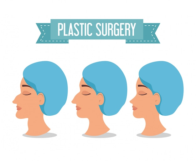 Mulher antes e depois do processo de cirurgia plástica