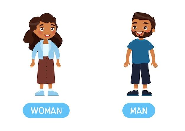 Mulher anúncio homem antônimos palavra cartão conceito de opostos flashcard para aprendizagem de inglês