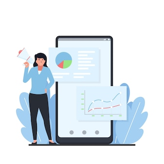 Mulher ao lado do telefone com infográfico