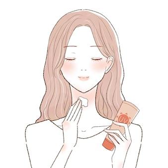Mulher aplicando creme protetor solar no pescoço. sobre um fundo branco.